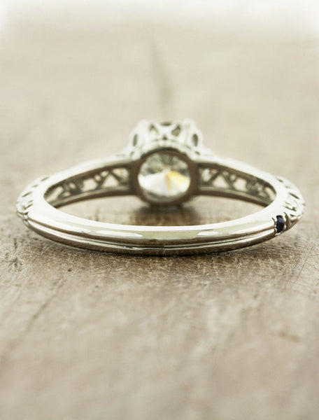 vintage-inspired ornate band, filigree & milgrain engagement ring