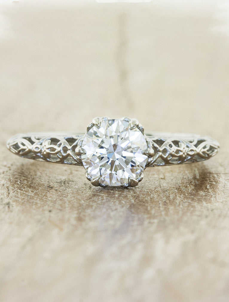 ornate band, filigree & milgrain engagement ring