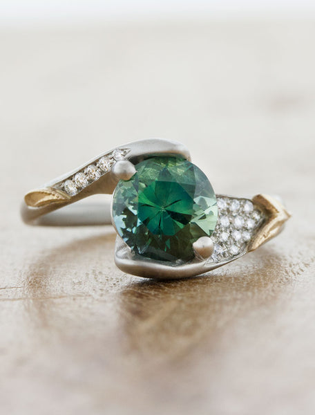 unique green sapphire and diamond, asymmetrical mixed metals engagement ring