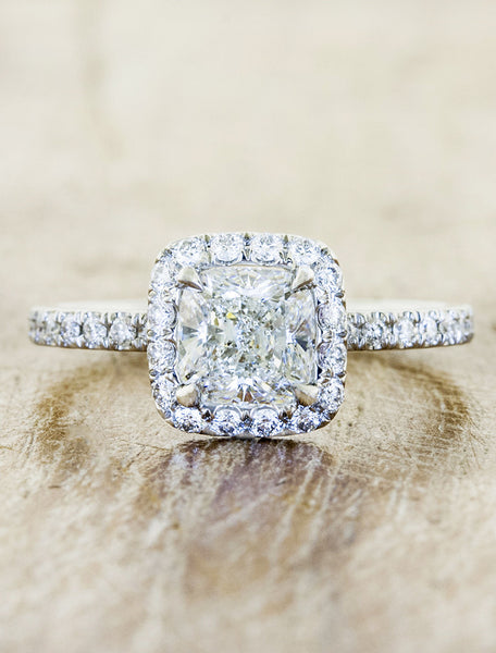 Halo engagement ring caption:0.80ct. Cushion Cut Diamond 14k White Gold