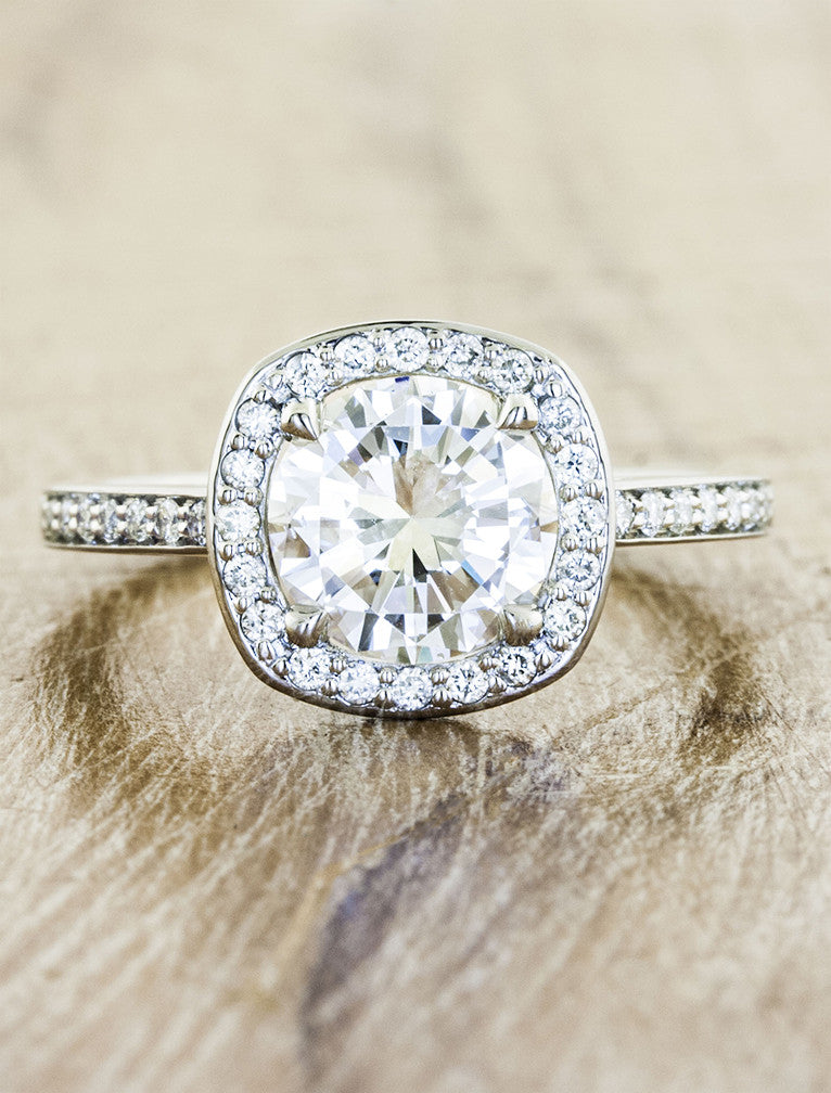 halo diamond engagement ring, pave band