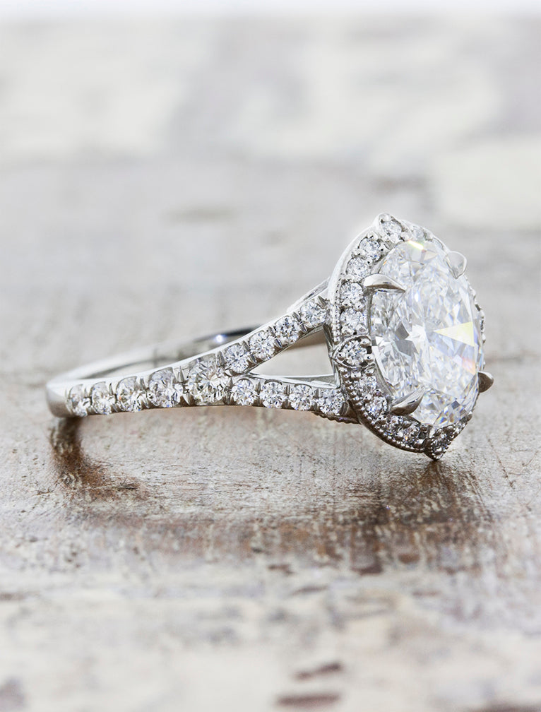 Halo Oval Diamond Vintage Inspired Engagement Ring - side