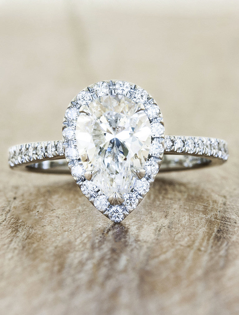 Verity halo engagement ring pear caption:1.20ct. Pear Diamond 14k White Gold