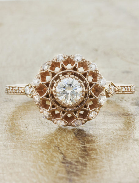 Vintage inspired collection caption:0.25ct. Round Diamond 14k Rose Gold