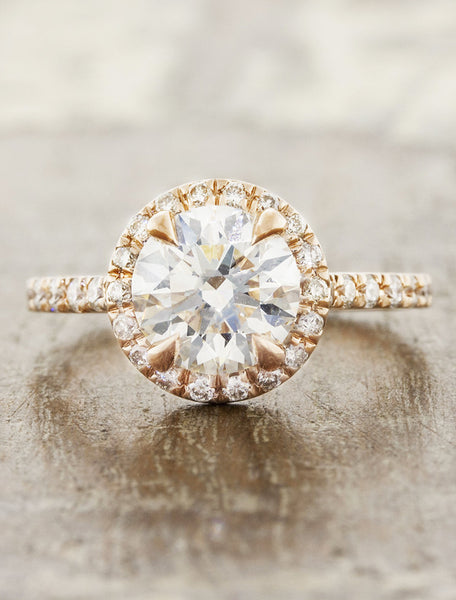 halo round diamond engagement ring in rose gold band caption:1.00ct. Round Diamond 14k Rose Gold