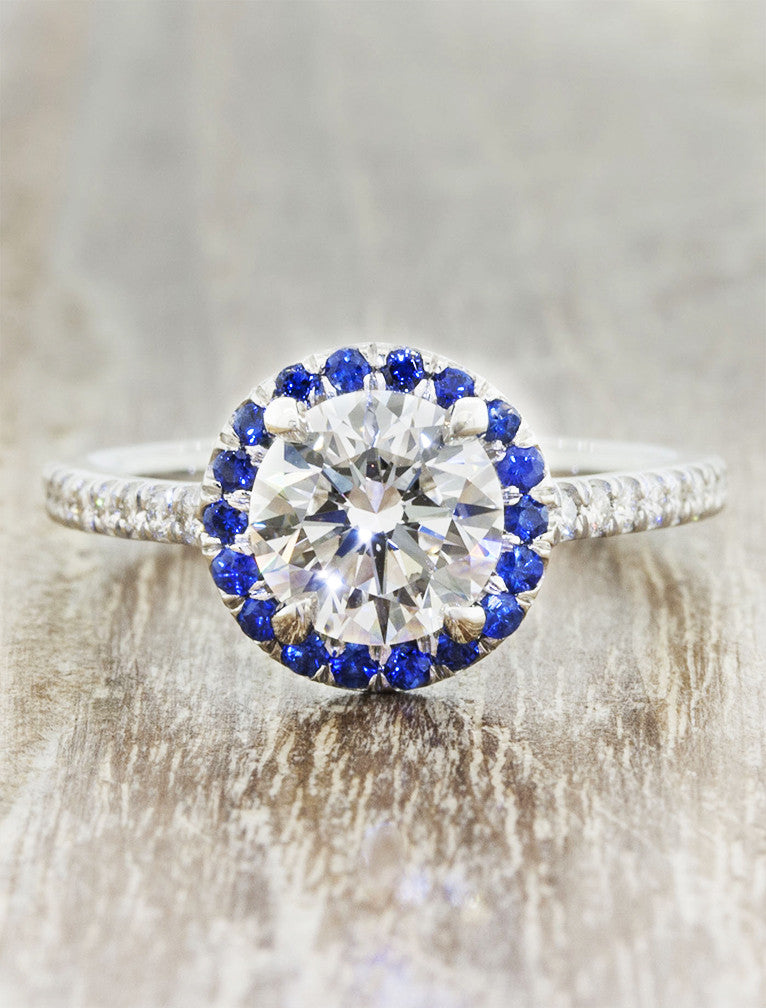 Sapphire halo round diamond engagement ring