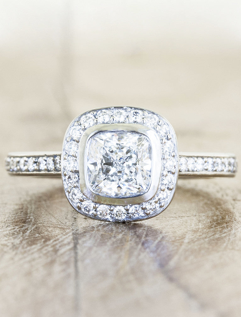 bezel set cushion cut diamond with halo