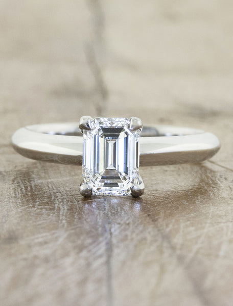 modernist emerald cut diamond engagement ring, knife edge band