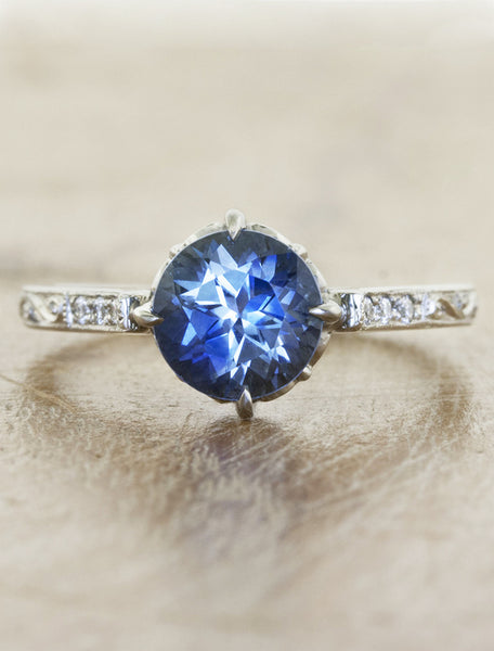 Vintage inspired collection caption:1.50ct. Round Sapphire 14k White Gold