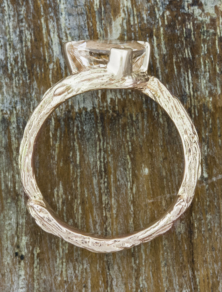 trillion cut morganite engagement ring, tree bark band