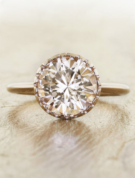round morganite engagement ring in rose gold caption:2.16ct. Round Morganite 14k Rose Gold