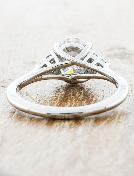 Oval-Stone Diamond Ring with Diamond Accents - Recycled Platinum Band