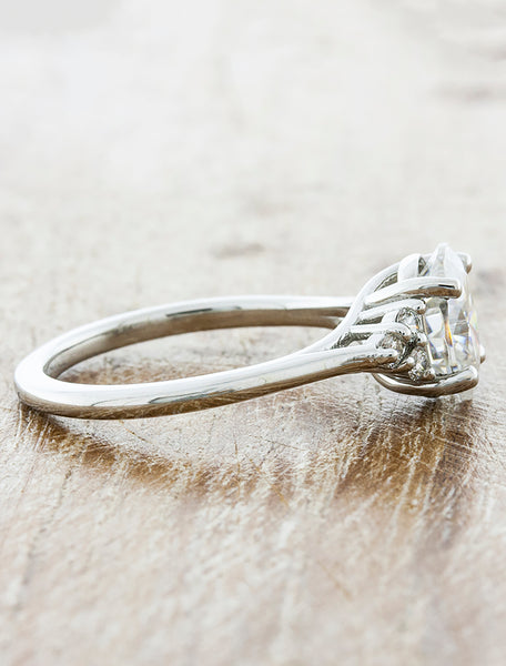 Oval-Stone Diamond Ring with Diamond Accents - Vintage Inspired Basket
