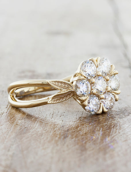 floral cluster diamond engagement ring