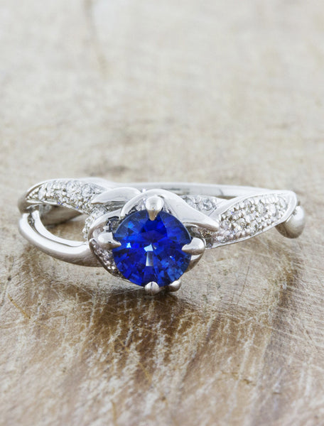 unique nature inspired split shank diamond engagement ring;caption:0.75ct. Round Sapphire 14k White Gold