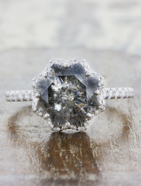 Star shaped rough grey diamond engagement ring