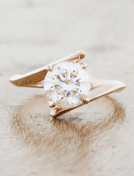 Unique modern engagement ring. caption:1.90ct. Round Diamond, 14k Rose Gold