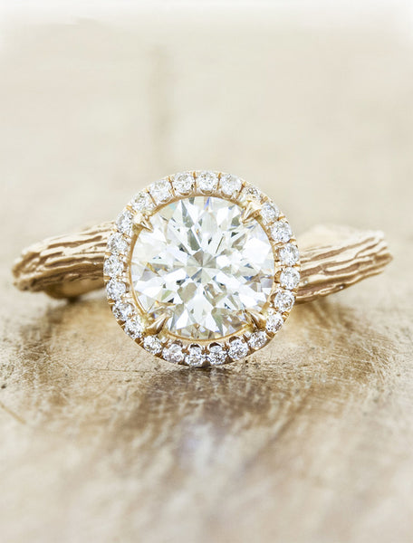 bark texture halo round diamond ring