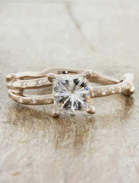 Nature inspired engagement ring;caption:0.90ct. Princess Cut Diamond 14k Rose Gold