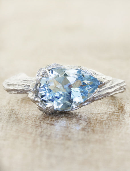 pear shaped aquamarine engagement ring;caption:1.10ct. Pear Aquamarine 14k White Gold