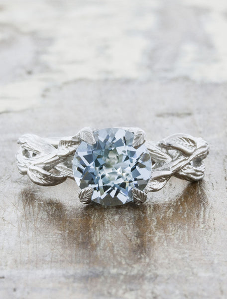 Nature inspired engagement ring - Lorelei- caption:1.50ct. Round Aquamarine 14k White Gold