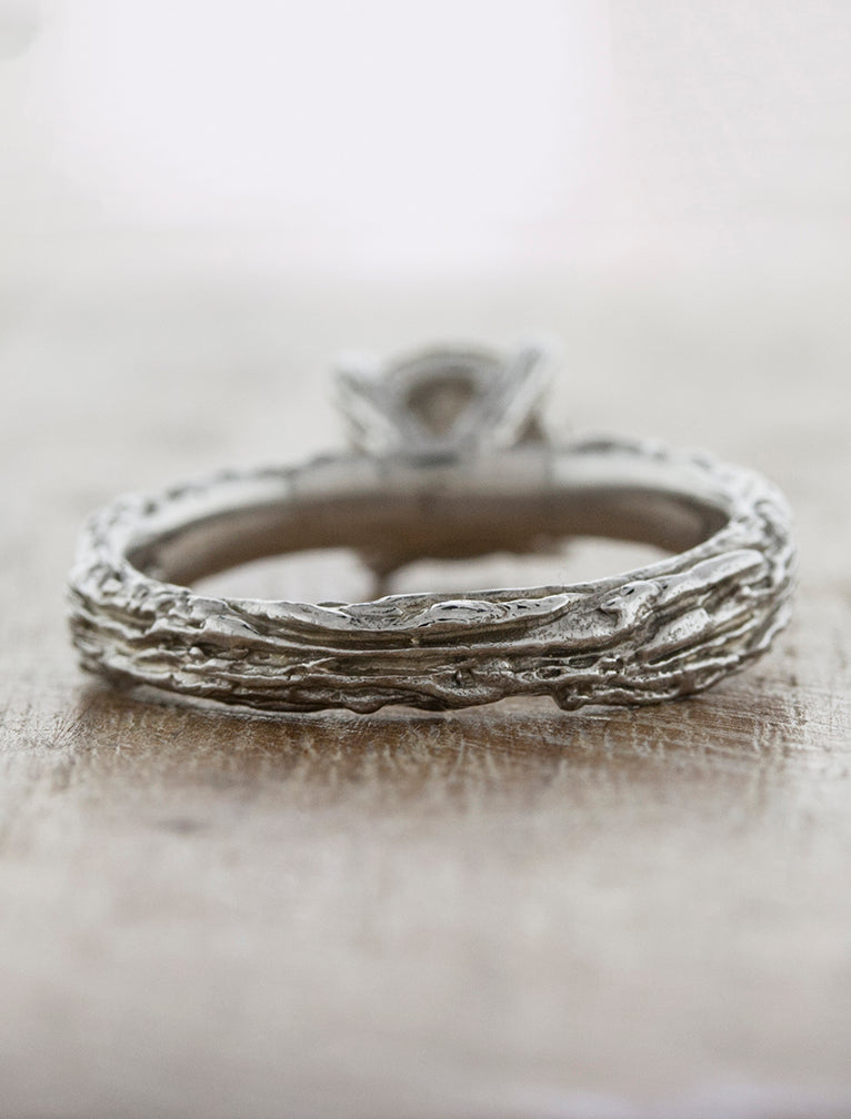 Nature Inspired Bark Texture Engagement Ring