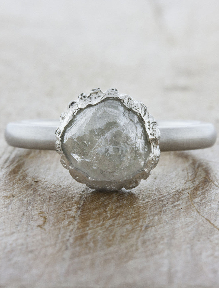 brushed platinum rough cut diamond ring