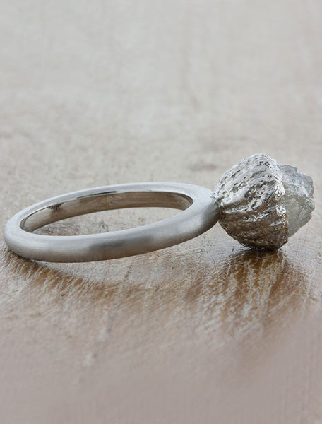 brushed platinum rough cut diamond ring - basket