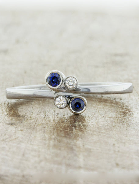 simple sapphire & diamond engagement - wedding ring
