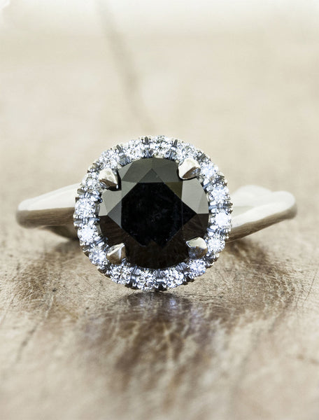 Nature inspired halo engagement ring;caption:1.50ct. Round Black Diamond 14k White Gold