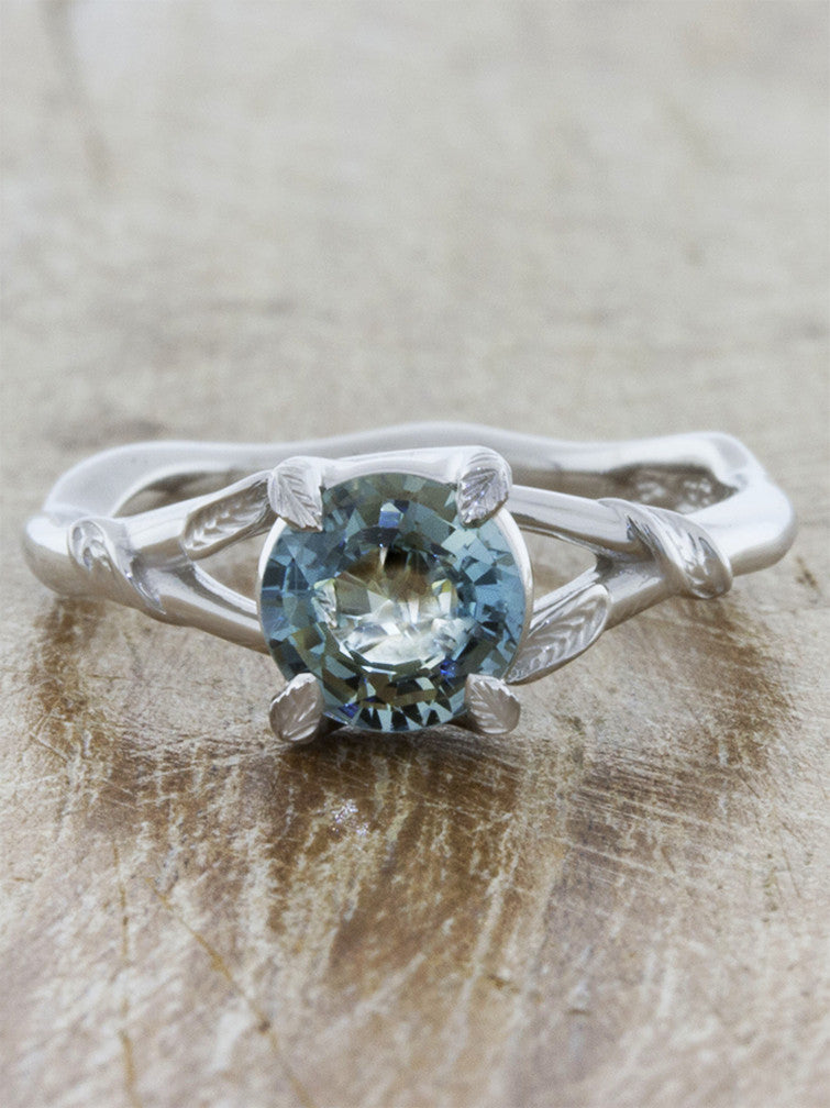 white gold nature inspired sapphire engagement ring