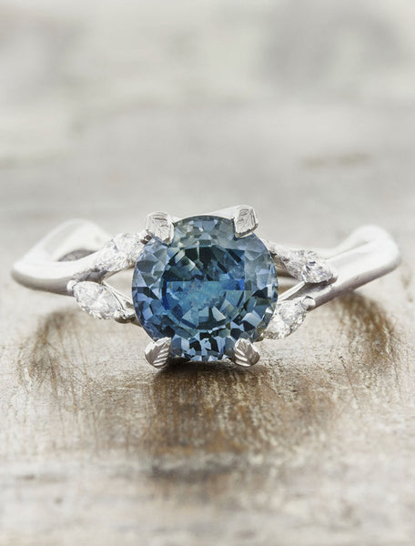 Nature inspired sapphire engagement ring caption:Customized with 1.07ct. Round Montana Sapphire Platinum