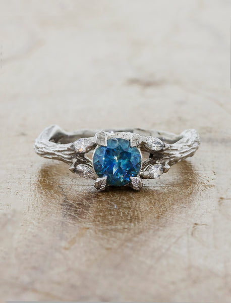 montana sapphire engagement ring in leaf band caption:0.76ct. Round Montana Sapphire 14k White Gold