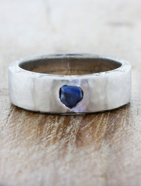 mens hammered wedding band with sapphire