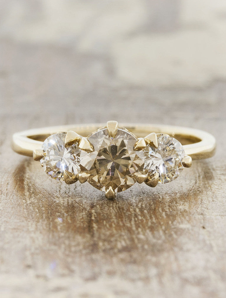 round cognac diamond engagement ring