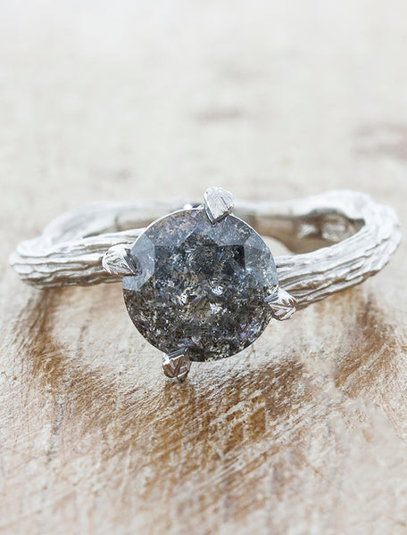 Nature inspired solitaire engagement ring caption:1.90ct. Round Fancy Grey Diamond Platinum