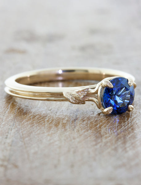 round blue sapphire engagement ring in double band with delicate setting