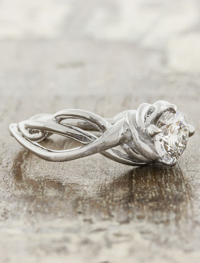 sculptural band, diamond engagement ring