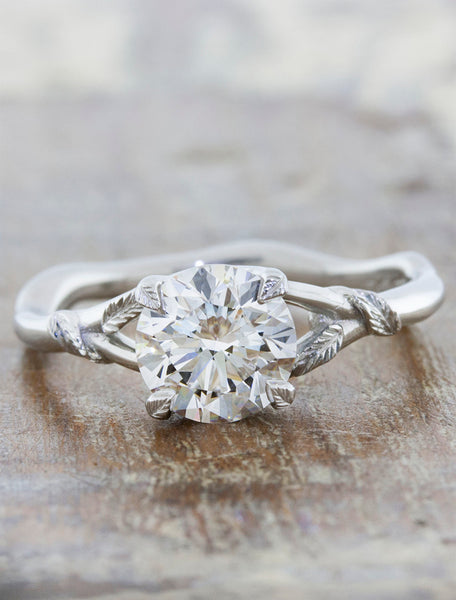 Nature inspired engagement ring - Pembroke caption:1.25ct. Round Diamond Platinum