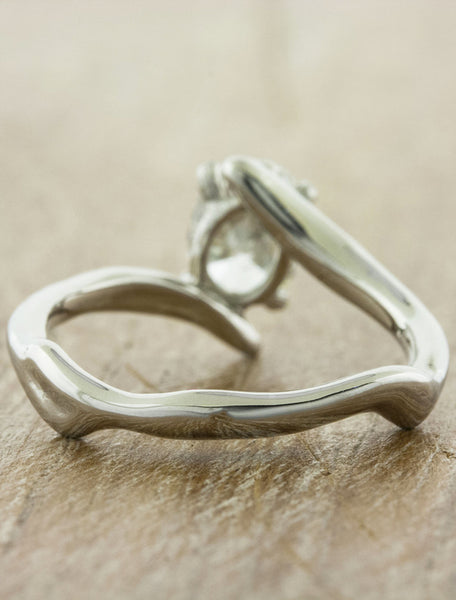 organic shaped asymmetrical band engagement ring