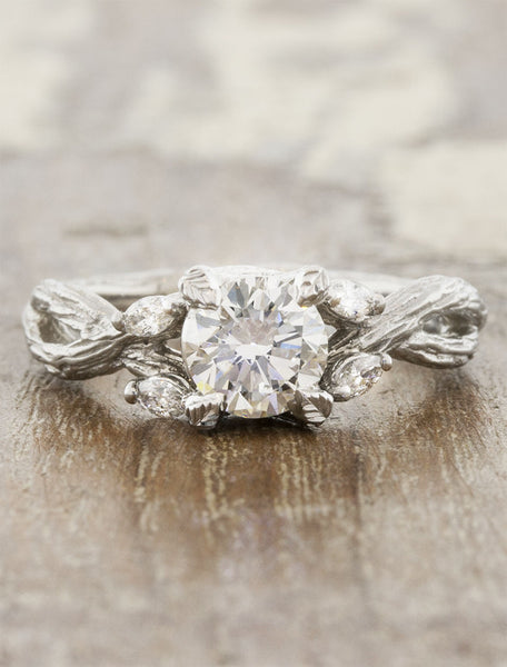 tree bark band diamond engagement ring