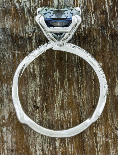 wave band engagement ring, montana sapphire
