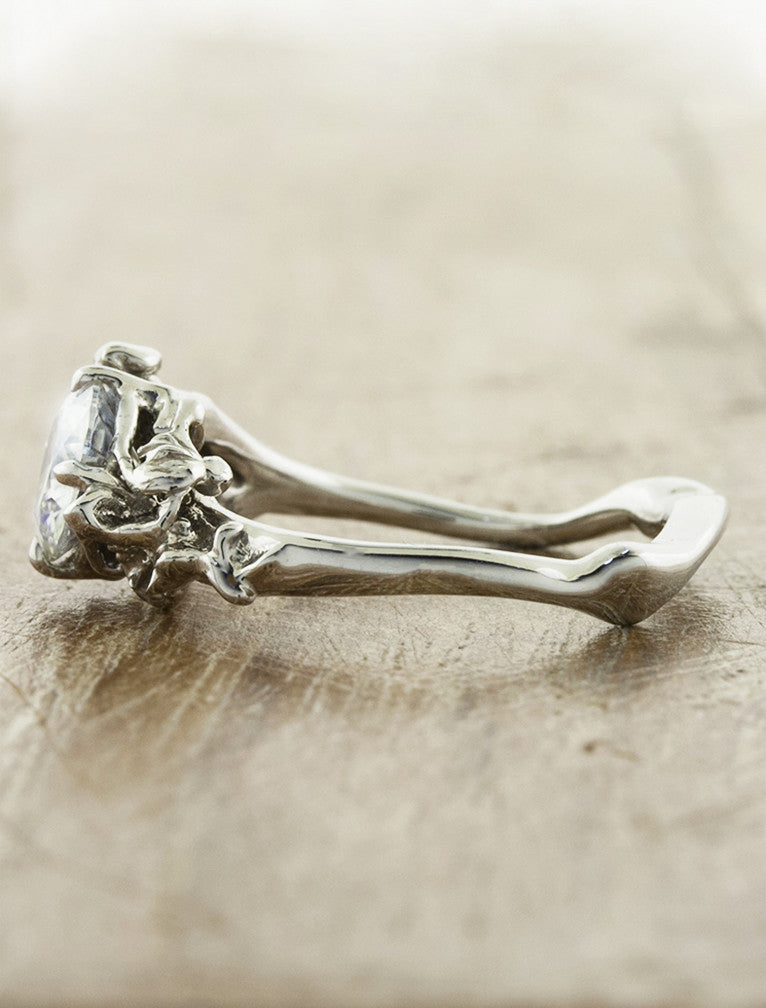 organic shaped diamond engagement ring