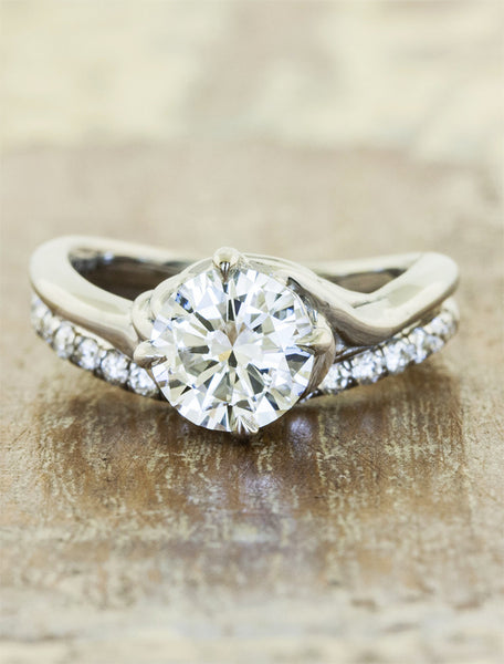 Nature inspired engagement ring - Kalyssa caption:1.25ct. Round Diamond Platinum paired with Bella wedding band