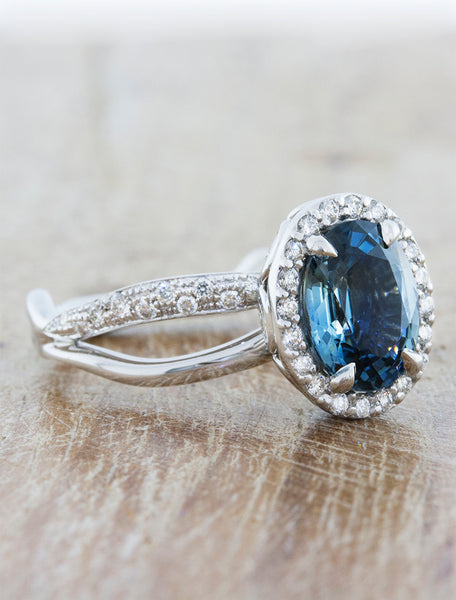 Oval blue sapphire halo nature inspired engagement ring