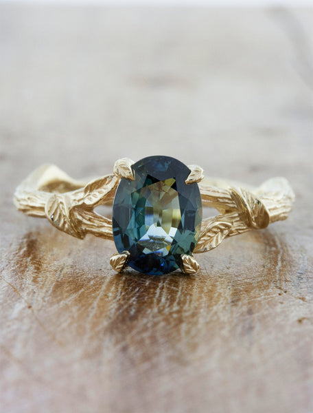 Nature inspired engagement ring - Adelia caption:1.40ct. Oval Sapphire 14k Yellow Gold