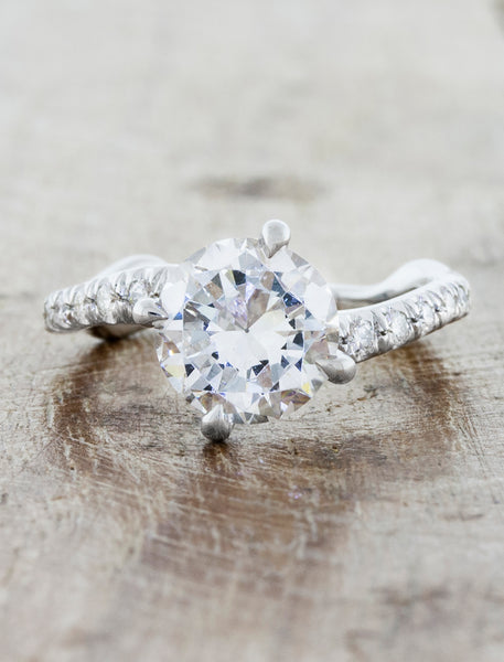 Nature inspired solitaire pave engagement ring;caption:1.75ct. Round Diamond Platinum