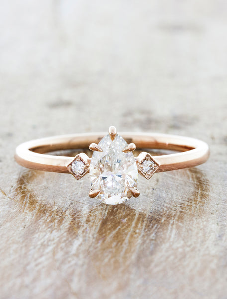 Pear Diamond Ring in Rose Gold caption:0.75ct. Pear Diamond 14k Rose Gold