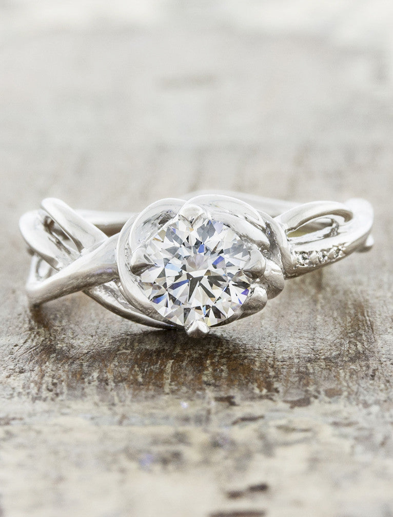 nature inspired diamond engagement ring - Landress caption:1.00ct. Round Diamond 14k White Gold