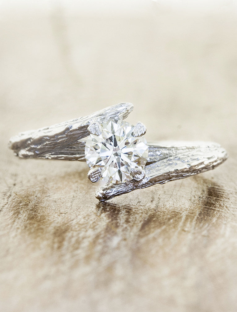asymmetrical tree bark engagement ring with diamond